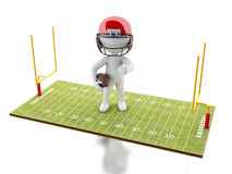 3d White people playing on American Football field. 3d renderer image. White people playing on American Football field. Sport concept.  white background Stock Photos