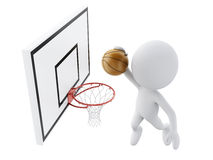 3d white people playing basketball trying to score. 3d image. White people playing basketball trying to score. Isolated white background Stock Image
