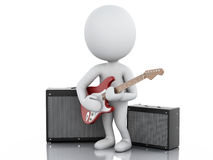 3d white people playing electric guitar. 3d image. White people playing electric guitar with Amplifier.  white background Royalty Free Stock Images