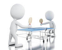 3d White people playing ping pong. Royalty Free Stock Photo