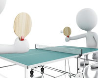3d White people playing ping pong. Royalty Free Stock Images
