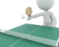 3d White people playing ping pong. Stock Photography