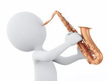 3d white people playing saxophone on a white background Royalty Free Stock Image