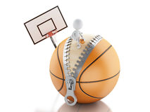 3d white people playing on top of basketball ball Royalty Free Stock Image