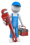 3D white people. Plumber. With pipe wrench and tool box. White background Royalty Free Stock Images