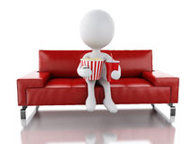 3d white people with popcorn and drink. 3d illustration. White people with popcorn and drink on the sofa. Cinematography concept.  white background Royalty Free Stock Image