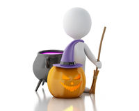 3d White people with pumpkin, witch hat, broom and witch pot. Stock Photography
