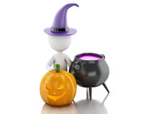 3d White people with pumpkin, witch hat and pot. Stock Photography