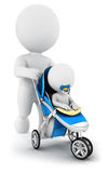 3d white people pushing a baby in a stroller. White background, 3d image Royalty Free Stock Photography