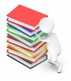 3d white people pushing stack of books vector illustration