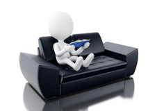 3d White people reading book on couch. Stock Images