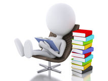 3d white people reading a book on white background. Stock Photos