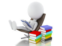 3d white people reading a book on white background. Royalty Free Stock Images