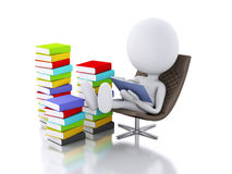3d white people reading a book on white background. Royalty Free Stock Photo