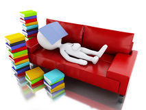 3d white people reading a book on white background. Stock Images