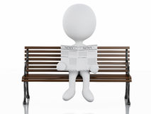 3d white people reading on a wooden bench. 3d illustration. White people reading a newspaper on a wooden bench. Isolated white background Stock Images