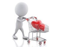 3d white people with red heart in the shopping cart. Stock Images