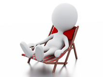3d white people relaxed on a beach chair. Summer concept Royalty Free Stock Photography