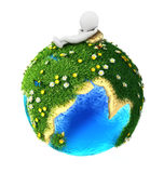 3d white people relaxed on green earth. Isolated white background, 3d image Royalty Free Stock Photos