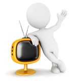 3d white people retro television Royalty Free Stock Photos