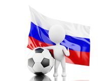 3d White people with Russia flag and soccer ball. Royalty Free Stock Photos