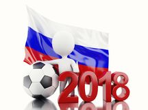 3d White people with Russia flag and soccer ball. 3d illustration. White people with Russia flag and soccer ball. Russia 2018 World Cup. Isolated white Stock Images