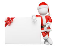 3D white people. Santa Claus with blank banner. 3d white people. Santa Claus leaning on a blank banner with a ribbon. White background Royalty Free Stock Photos