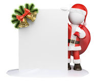 3D white people. Santa Claus with a blank and a garland. White background Royalty Free Stock Photography