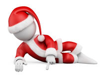 3D white people. Santa Claus lying pointing down. To a blank space. White background Stock Photo