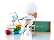 3D White people with school desk and education objects Stock Photography