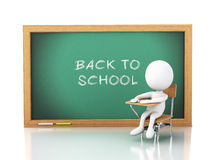 3D white people with school objects Royalty Free Stock Photo