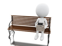 3d White people seated on a bench with his stuff. 3d illustration. White people seated on a bench with his stuff. Isolated white background Royalty Free Stock Photos