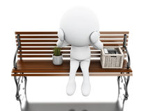 3d White people seated on a bench with his stuff. 3d illustration. White people seated on a bench with his stuff. Isolated white background Royalty Free Stock Photography