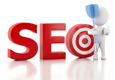 3d White people with seo text and red target. Royalty Free Stock Images
