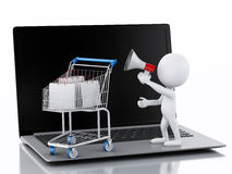 3d white people and Shopping cart on Laptop. Royalty Free Stock Photos
