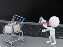 3d white people and Shopping cart on Laptop. Stock Images