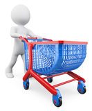 3D white people. Shopping trolley Stock Photos