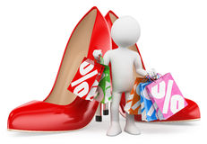 3D white people. Shopping woman with bags. Fashion. 3d white people. Shopping woman with bags. Red heels. Fashion. White background Stock Image