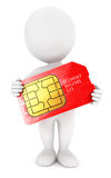 3d white people sim card Royalty Free Stock Photo