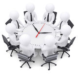 3d white people sitting at the round table. On the table a large clock. The concept of time Royalty Free Stock Image