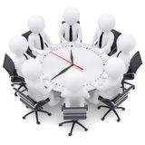 3d white people sitting at the round table Royalty Free Stock Photography
