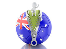 3d white people with soccer ball of Australia. 3d renderer image. 3d white people on top of soccer ball with Australian flag. Sport concept.  white background Royalty Free Stock Images
