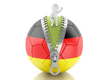 3d white people with soccer ball of germany. 3d renderer image. 3d white people on top of soccer ball with Germany flag. Sport concept. Isolated white background Royalty Free Stock Images