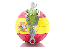 3d white people with soccer ball of spain. 3d renderer image. 3d white people on top of soccer ball with flag of Spain. Sport concept. Isolated white background Royalty Free Stock Photo