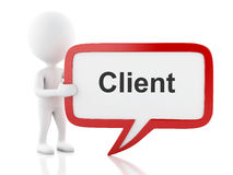 3d White people with speech bubble that says client. Stock Photo