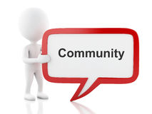 3d White people with speech bubble that says Community. 3d renderer image. White people with speech bubble that says Community. Isolated white background Stock Image