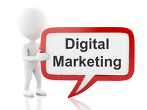 3d White people with speech bubble that says digital marketing. Royalty Free Stock Photos