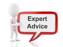 3d White people with speech bubble that says expert advice. Stock Image