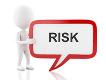 3d White people with speech bubble that says risk. 3d renderer image. White people with speech bubble that says risk. Business concept. Isolated white Stock Photography
