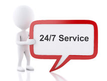 3d White people with speech bubble that says 24/7 Service. 3d renderer image. White people with speech bubble that says 24/7 Service. Business concept. white Stock Illustration